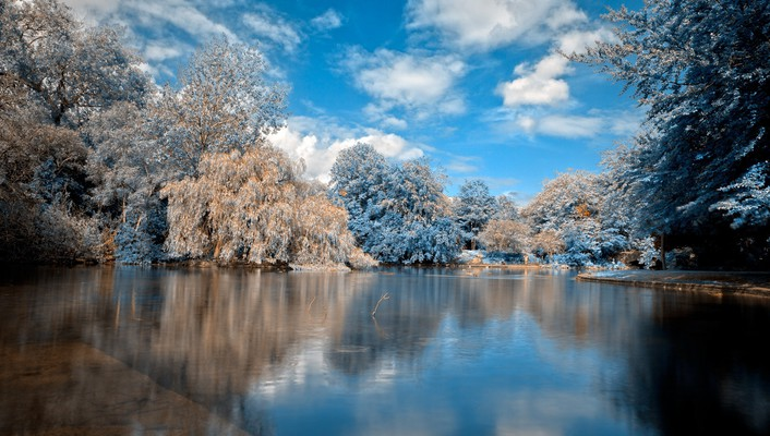 Blue landscapes nature trees stephen saphire lagoon reflections wallpaper