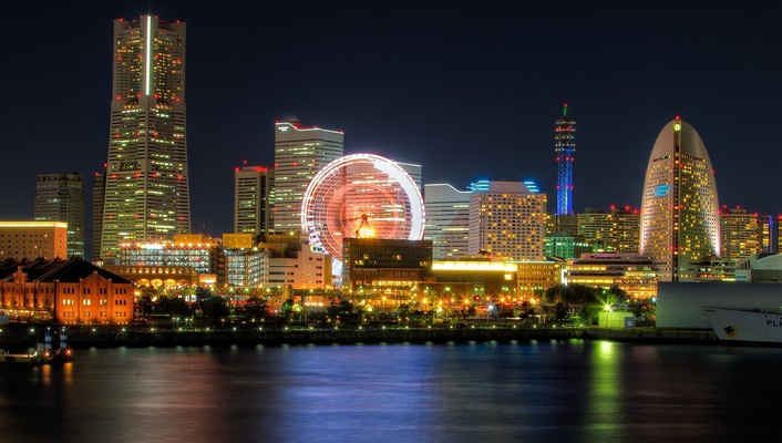 Japan tokyo cityscapes yokohama bay city night wallpaper
