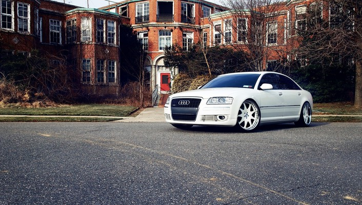 Audi a8 cars houses roads tuning wallpaper