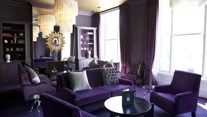 Interior design living room purple wallpaper