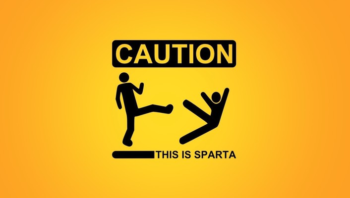 Sparta caution funny kicking minimalistic wallpaper