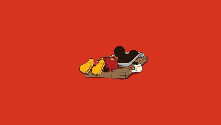 Mickey mouse artwork funny minimalistic red wallpaper
