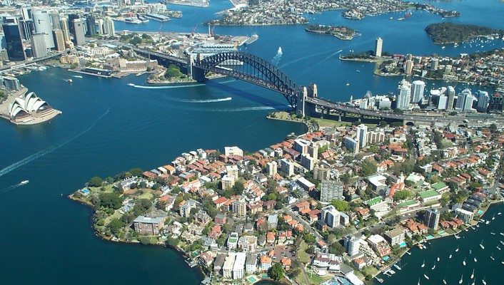 Harbour bridge sydney air cityscapes wallpaper