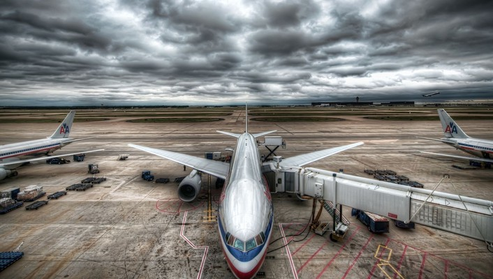 American airlines hdr photography aircraft airports wallpaper