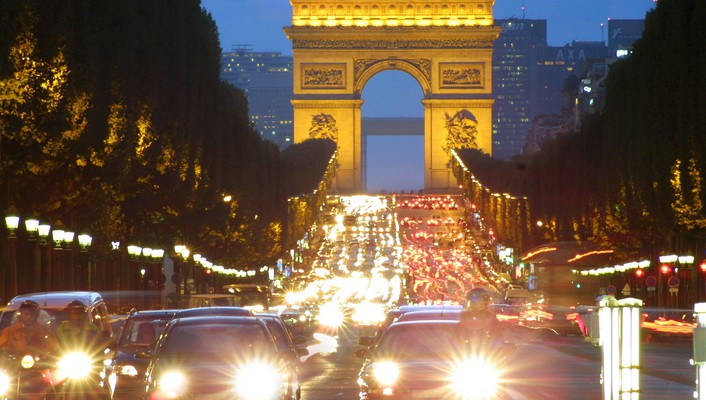 Arc de triomphe champs elysées paris architecture cars wallpaper