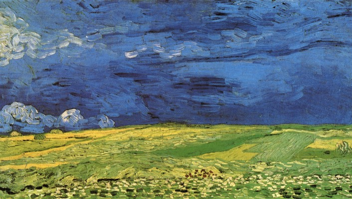 Vincent van gogh artwork overcast paintings wallpaper