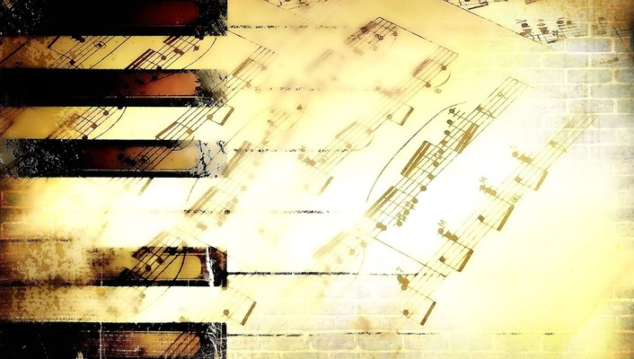 Digital art piano keys sheet music wallpaper