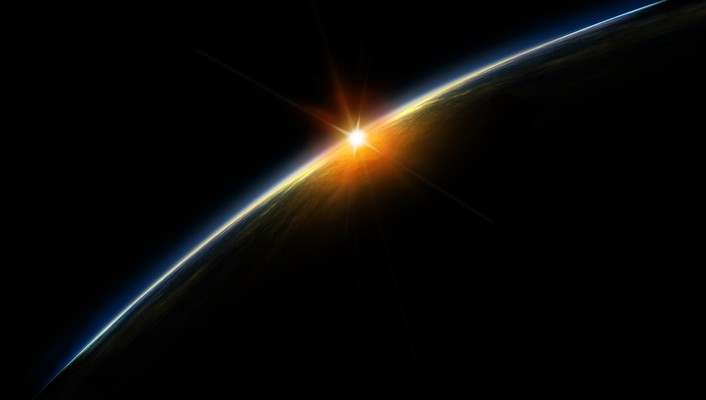Sunset from space wallpaper