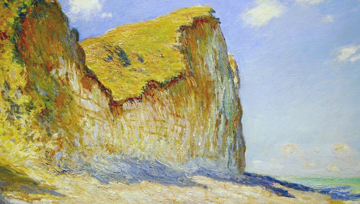 Paintings beach cliffs claude monet impressionism wallpaper