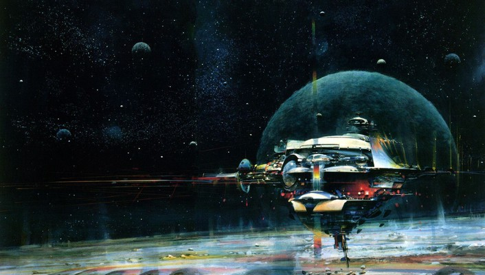 Outer space planets spaceships artwork wallpaper