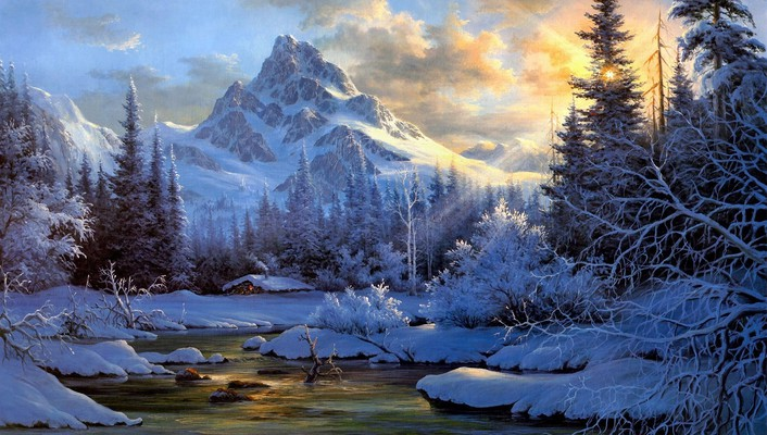 Paintings mountains landscapes winter snow artwork wallpaper