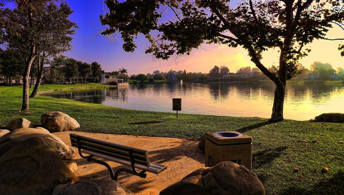 Hdr photography bench lakes landscapes nature wallpaper
