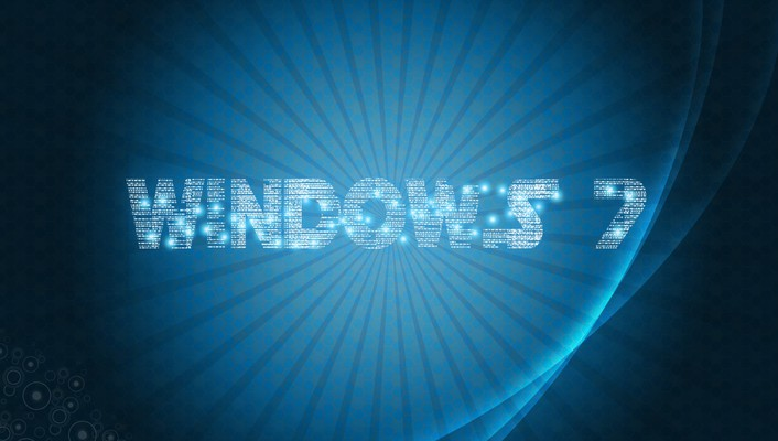 Abstract blue windows 7 funky digital art wallpaper