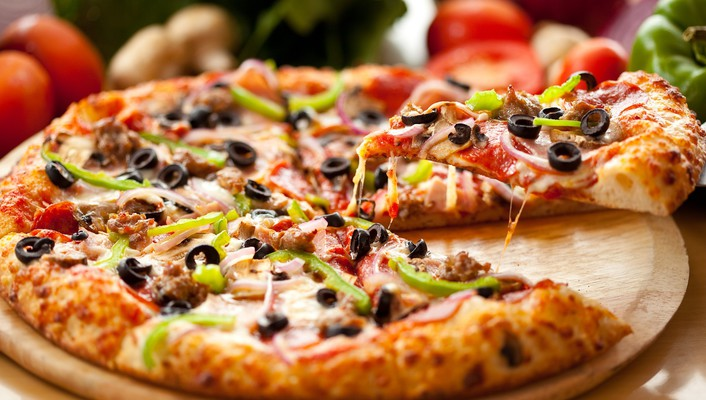 Cheese food green pepper olives onions wallpaper
