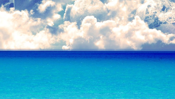 Blue ocean clouds landscapes white widescreen wallpaper