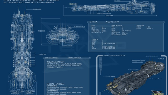 Leviathan blueprints spaceships x3: terran conflict wallpaper