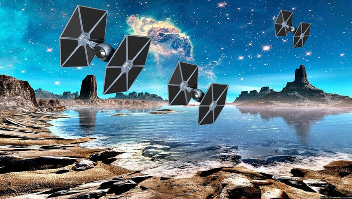 Stars planets spaceships science fiction tie fighter wallpaper