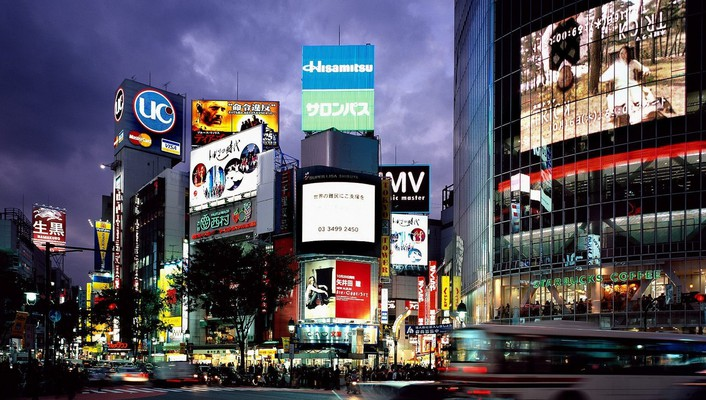 Japan shibuya tokyo advertisement wallpaper