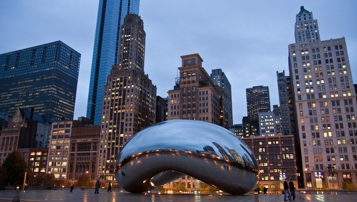 Chicago bean cityscapes sculptures wallpaper