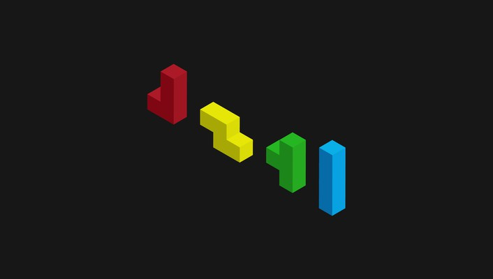 Tetris black blocks blue gray wallpaper