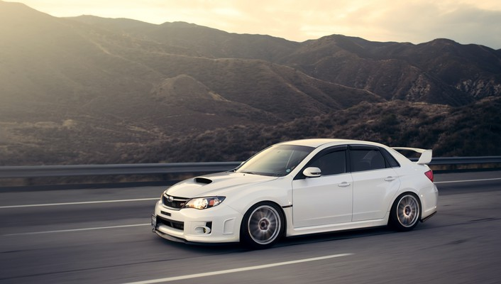 Subaru impreza wrx sti cars mountains white wallpaper