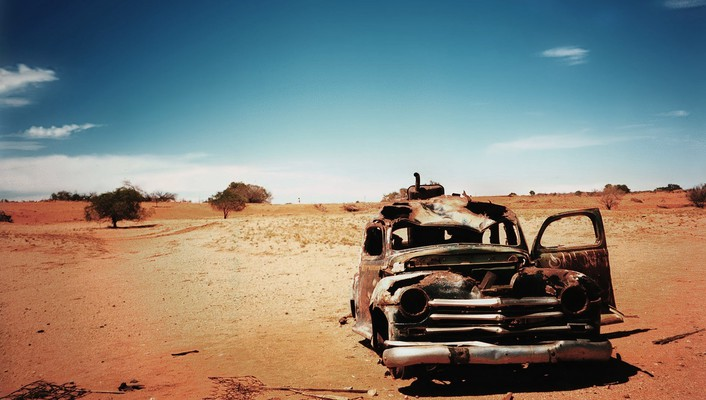 Cars deserts old wrecks wallpaper