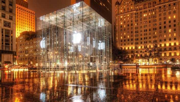 Apple inc central park new york city glass wallpaper