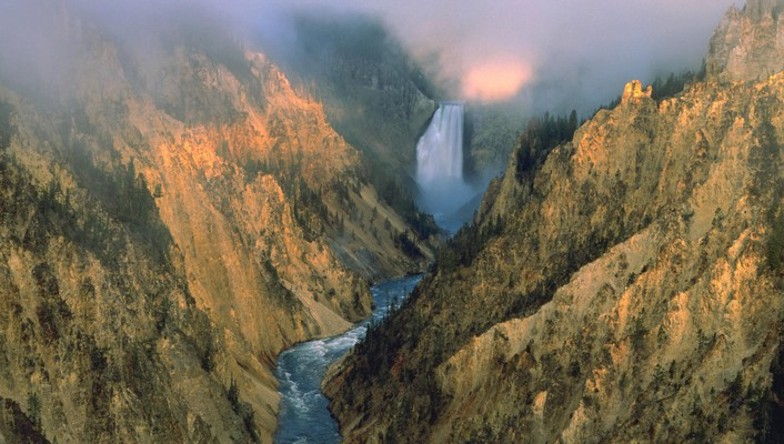 Landscapes falls wyoming yellowstone waterfalls national park wallpaper