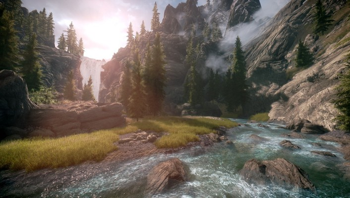 Waterfalls rivers the elder scrolls v: skyrim wallpaper