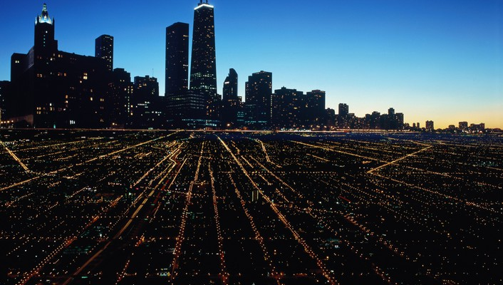 Chicago cityscapes night landscapes sky wallpaper
