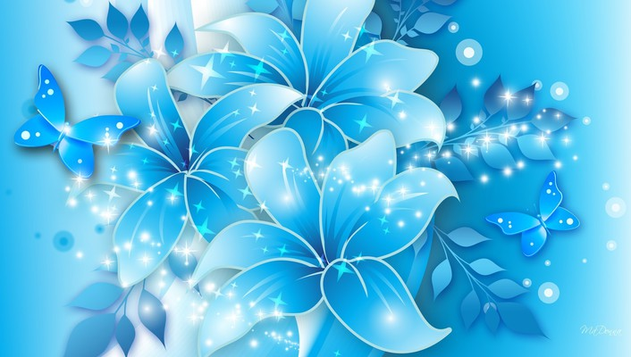 Blue butterflies lilies wallpaper