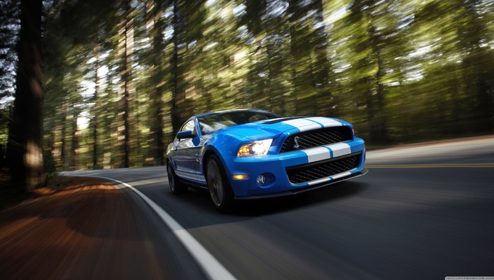 Ford mustang shelby gt500 blue wallpaper