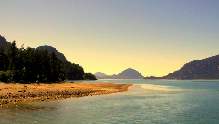 Water mountains forests canada british columbia wallpaper