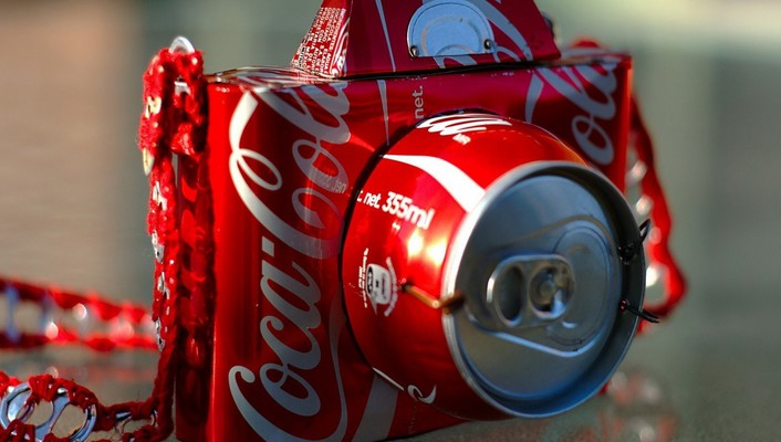Cocacola artwork cameras soda cans wallpaper