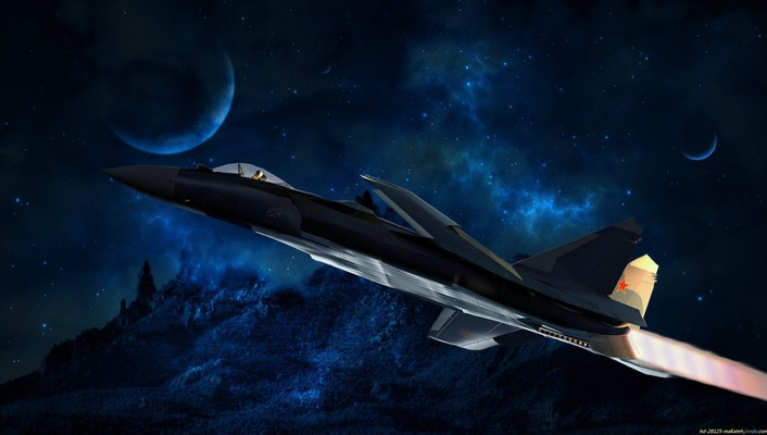 Fighter jet military outer space planets wallpaper