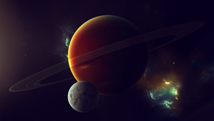 Nebulae outer space planets rings satellite wallpaper