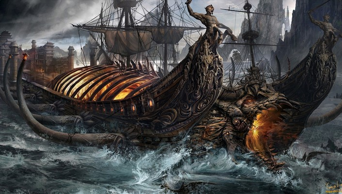 Ships fantasy art artwork wallpaper