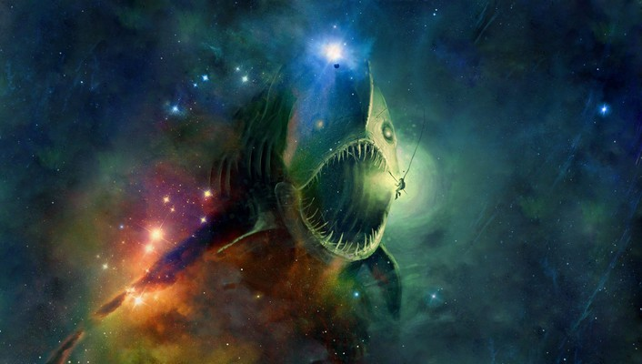 Outer space stars fish anglerfish wallpaper