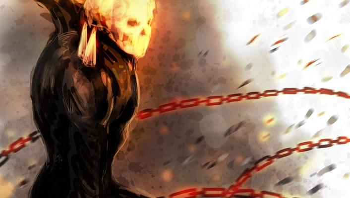 Comics fire ghost rider drawings chains traditional wallpaper