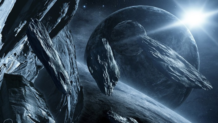 Planets fantasy art science fiction artwork asteroids wallpaper