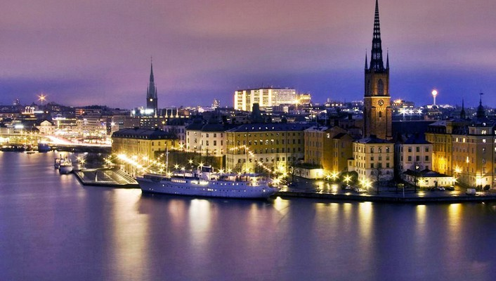 Water night sweden town stockholm landscapes sea wallpaper