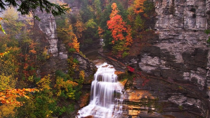 Lucifer autumn cliffs falls green wallpaper