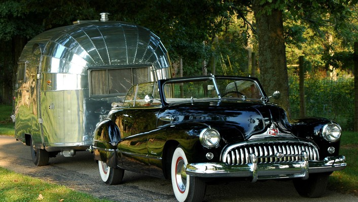 Cars retro buick trailer convertible airstream old wallpaper
