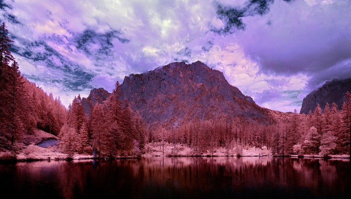 Black infrared photography lakes land wallpaper