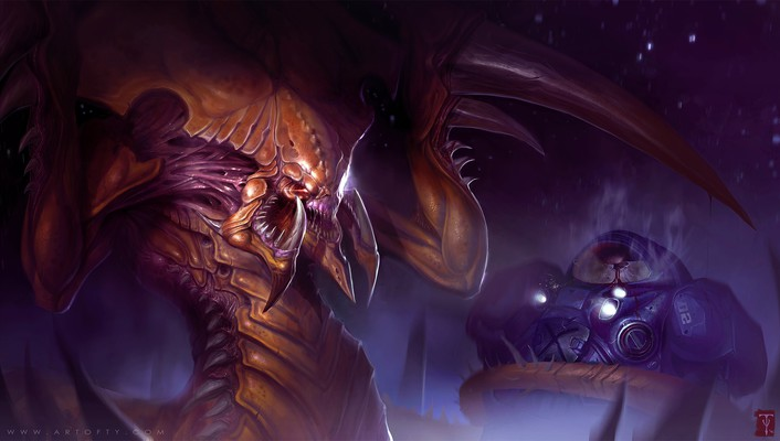 Hydralisk starcraft ii us marines corps zerg artwork wallpaper