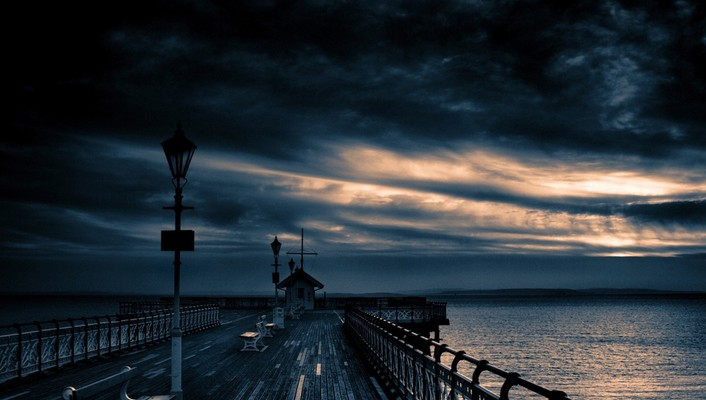 Clouds dock landscapes nature skyscapes wallpaper