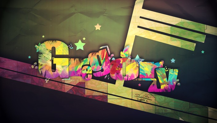 Abstract multicolor text typography wallpaper