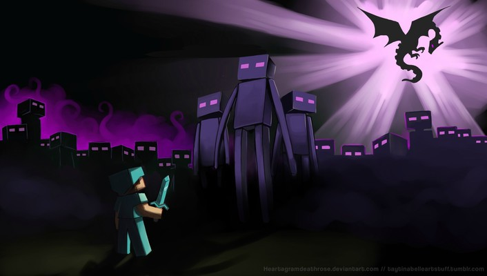 Enderman endermen minecraft steve artistic wallpaper