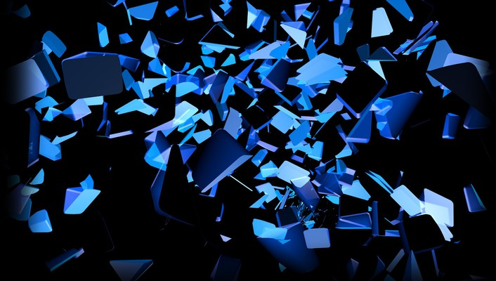 Blue black explosions glow colors slices cube wallpaper