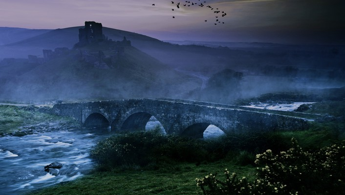 Landscapes birds mist bridges wallpaper